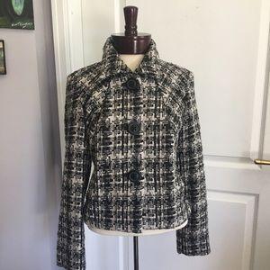 CABI boucle woven jacket coat black cream